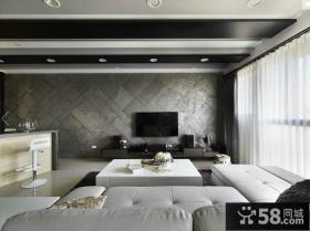 现代黑白灰经典三居室客厅吊顶效果图