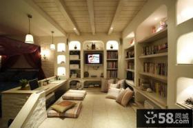 玩转单身公寓地中海风格客厅榻榻米装修效果图大全2014图片