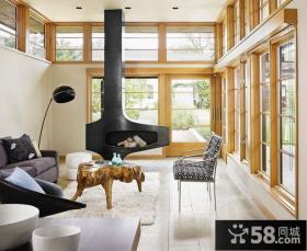 时尚简约复式楼客厅飘窗装修效果图大全2014图片