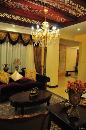 古典风格别墅家装客厅吊顶装修效果图