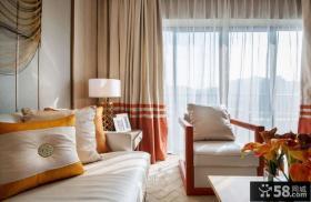 美式风格客厅阳台窗帘搭配效果图