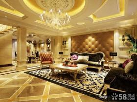 欧式别墅客厅沙发软包背景墙装修效果图