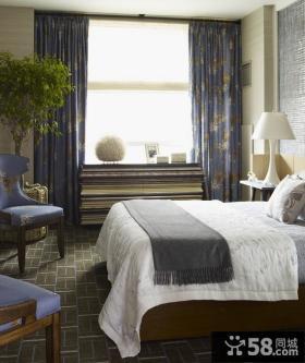 美式风格卧室窗帘地板装修效果图