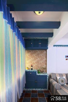 地中海风格室内阳台储物柜效果图
