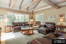 美式乡村风格三居室客厅横梁吊顶装修