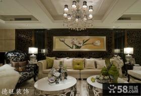 新古典客厅吊顶沙发背景墙效果图