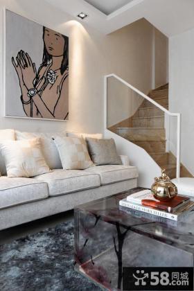美式风格两层公寓客厅家居沙发