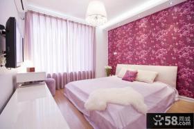 简约风格主卧室床头壁纸图片