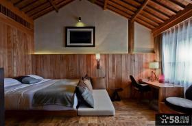古典原木元素的欧式风格卧室装修效果图大全2014图片