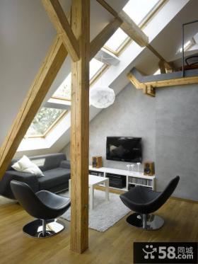 小复式楼客厅阁楼装修效果图大全2014图片