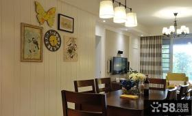 美式简约餐厅背景墙装饰画图片