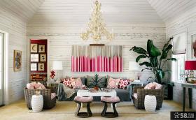 北欧混搭风格小别墅客厅装修效果图大全