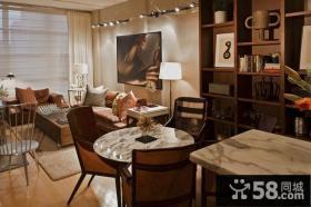 70平小户型美式现代客厅博古架装修效果图