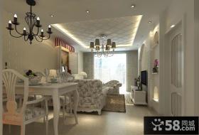 地中海风格简约客厅吊顶装修效果图