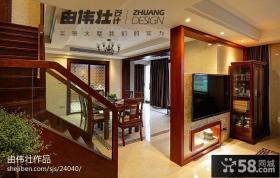 中式风格客厅电视背景墙隔断餐厅效果图