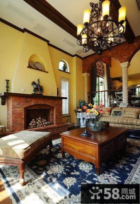 美式田园别墅客厅茶几图片大全