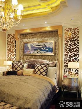 欧式新古典别墅卧室床头背景墙效果图