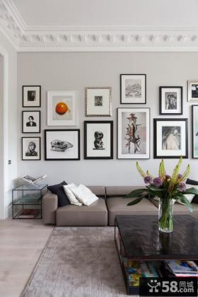 时尚客厅照片墙装饰