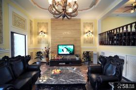 跃层客厅电视背景墙装修效果图