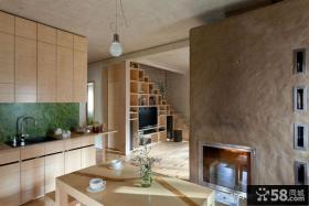 120平米原木复式楼客厅背景墙设计