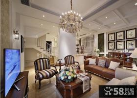 别墅欧式样板房客厅装修效果图