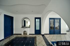 蓝色地中海别墅客厅玄关装修设计效果图