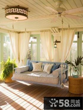米色别墅阳台装饰窗帘效果图