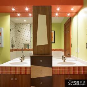 现代风格彩色洗手间装修效果图