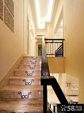 简欧玄关楼梯装修效果图片