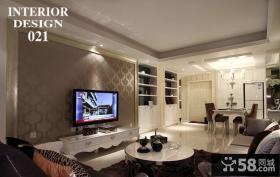 欧式客厅壁纸电视背景墙装修效果图大全