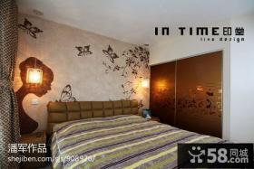 现代风格卧室床头背景墙设计图片