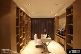 现代风格超大书房书柜装修效果图