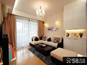 现代50平米两室一厅客厅装修效果图