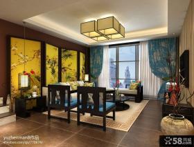 新中式风格客厅沙发背景墙效果图大全