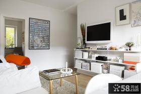 小户型客厅装修效果图 电视机背景墙效果图