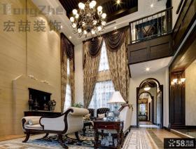 欧式古典风格别墅装修客厅效果图