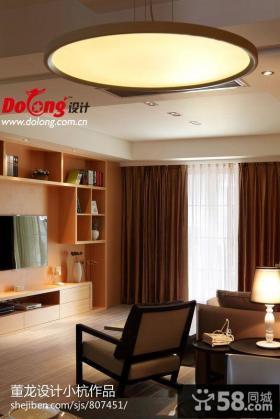 现代简约风格家装棕色客厅圆形吊顶装饰效果图