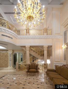 欧式别墅挑高客厅装修效果图图片