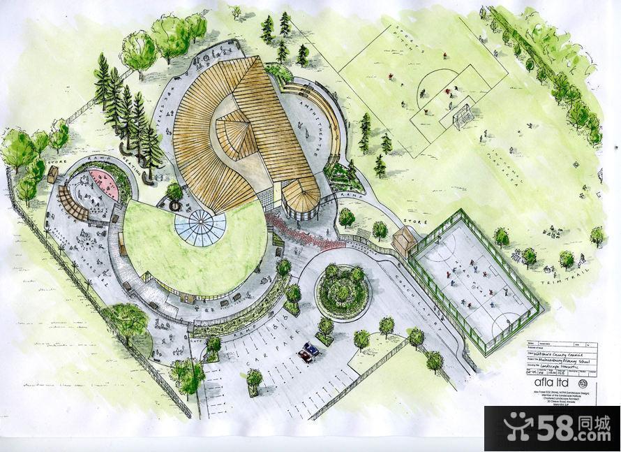 手绘学校景观设计效果图