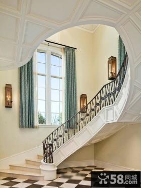 欧式别墅楼梯间装修设计图片2014