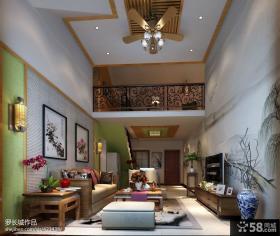 新中式挑高客厅电视背景墙效果图欣赏