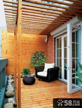 现代原木调三居室阳台装修效果图大全2013图片