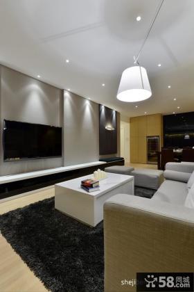 现代简约风格三居室客厅电视背景墙效果图