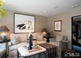 简约风格客厅沙发背景墙挂画效果图欣赏