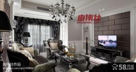 欧式新古典风格客厅电视背景墙效果图