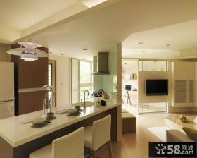 极简风格餐厅与客厅吊顶效果图