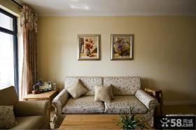 田园风格70平米小户型客厅挂画效果图
