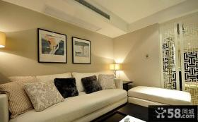 现代中式客厅沙发背景墙装饰画效果图