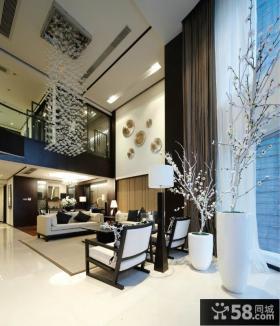 现代中式别墅客厅吊顶效果图
