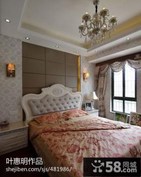 欧式卧室床头软包背景墙效果图